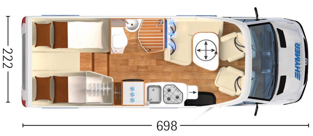 Grundriss des Hymer MLT 580 schematisch dargestellt