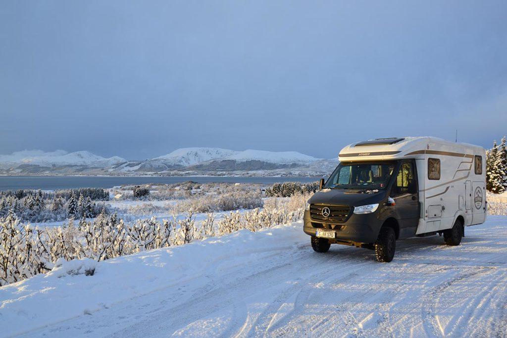 4x4 Wohnmobil Hmyer MLT 580 ist perfekt auf Schnee und Eis